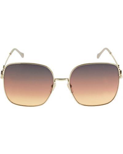 Okulary przeciwsłoneczne złoto plac metal Gucci