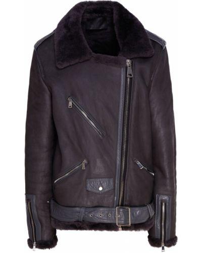 Серая куртка-пилот из овчины винтажная Beribegi