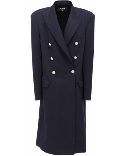 Синее пальто с карманами Balmain