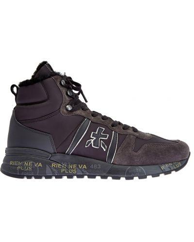 Коричневые кожаные высокие кроссовки со вставками Premiata