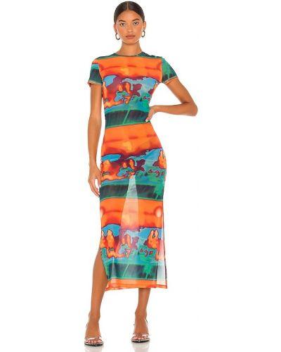 Pomarańczowa sukienka z siateczką Miaou