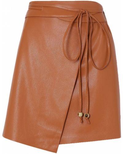 Коричневая кожаная юбка мини с поясом Nanushka