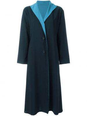 Синее шерстяное пальто на пуговицах с лацканами Issey Miyake Pre-owned