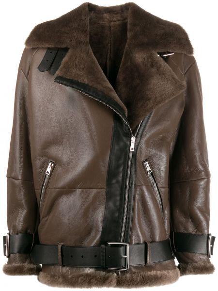 Коричневая кожаная короткая куртка оверсайз Blancha