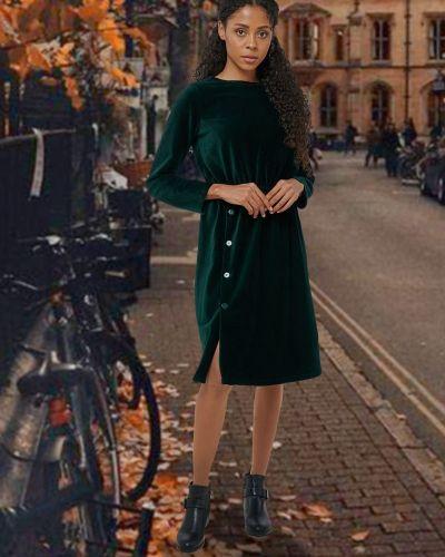 Повседневное платье миди вельветовое на резинке Mix-mode