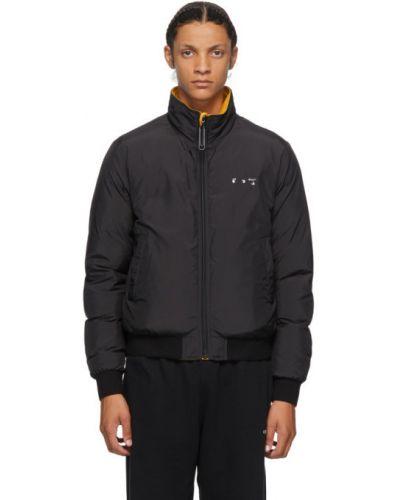 Czarny puchaty długa kurtka z kieszeniami z kołnierzem Off-white