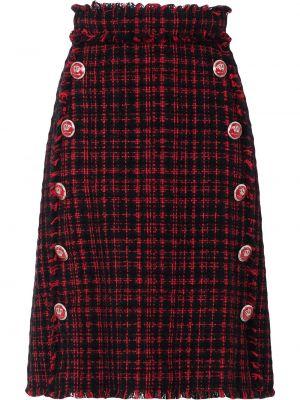 С завышенной талией юбка в клетку твидовая Dolce & Gabbana
