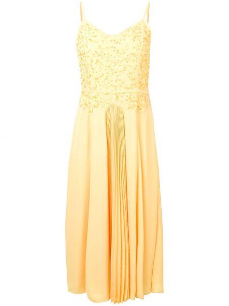 Желтое приталенное тонкое платье миди на бретелях Noon By Noor
