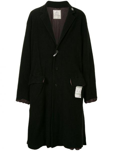 С рукавами черное шерстяное длинное пальто на пуговицах Maison Mihara Yasuhiro