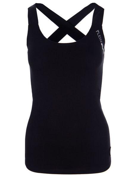 Спортивная футбольная черная спортивная футболка из вискозы Plein Sport