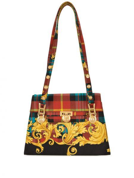 Золотистая красная сумка-тоут Versace Pre-owned