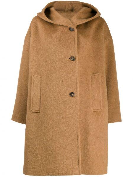Однобортное шерстяное длинное пальто с капюшоном Alberto Biani