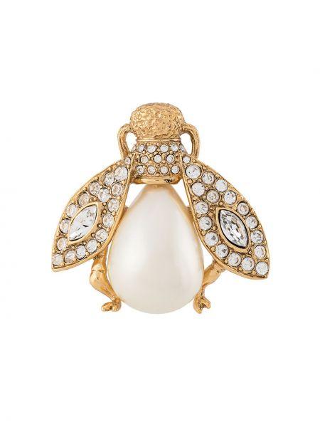 Broszka z perłami ze złota Christian Dior Pre-owned