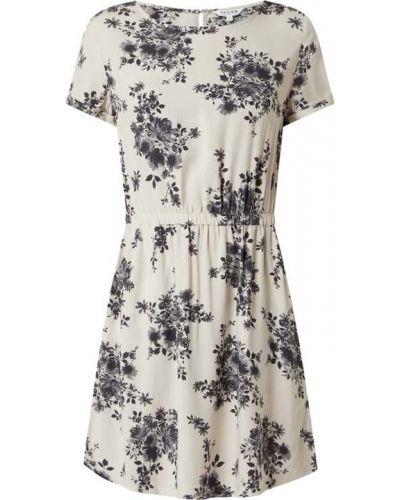 Beżowa sukienka rozkloszowana z wiskozy krótki rękaw Review