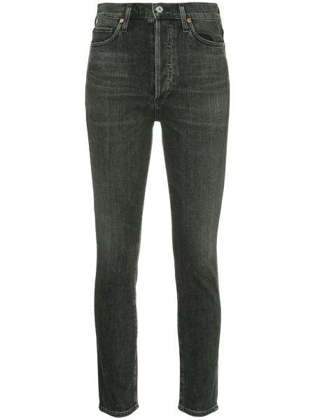 Bawełna niebieski jeansy do kostek wysoki wzrost z paskiem Citizens Of Humanity
