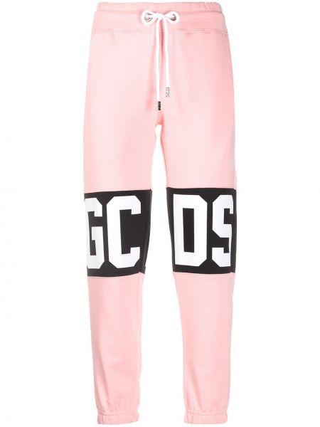 С кулиской хлопковые розовые укороченные брюки с карманами Gcds