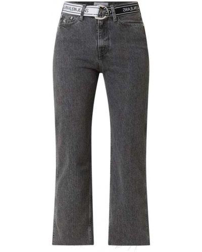 Prosto z wysokim stanem bawełna jeansy na wysokości z paskami Calvin Klein Jeans