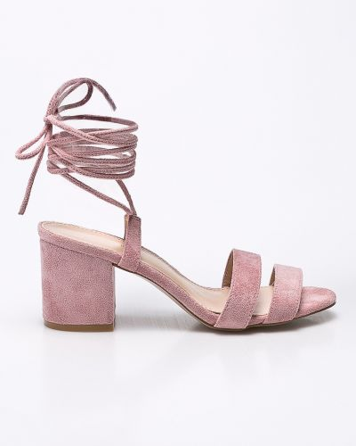 Туфли на каблуке на шнуровке текстильные Public Desire