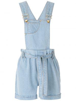 Хлопковый свободный синий джинсовый комбинезон Amapô