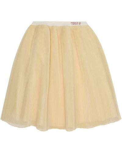 Шелковая желтая юбка Gucci Kids