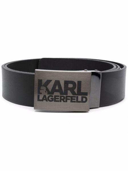 Pasek srebrny - czarny Karl Lagerfeld