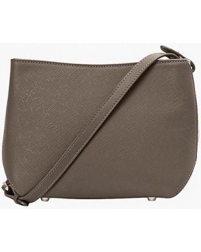 Кожаная сумка через плечо серая Eleganzza