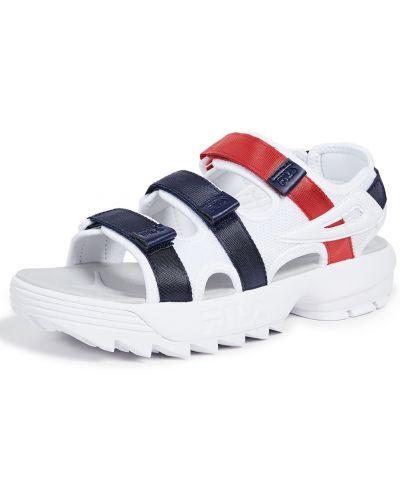 Białe sandały skorzane na rzepy Fila