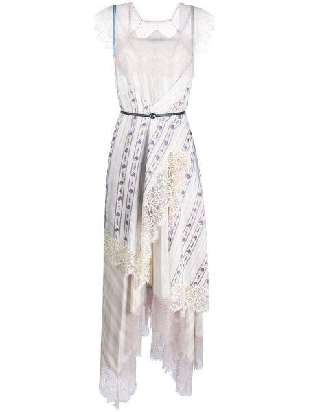 Шелковое кружевное платье макси с вырезом Lanvin