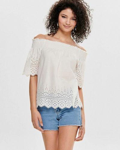 Блузка с открытыми плечами индийский белый Only