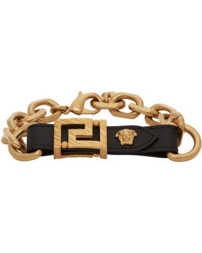 Z paskiem czarny bransoletka z prawdziwej skóry Versace