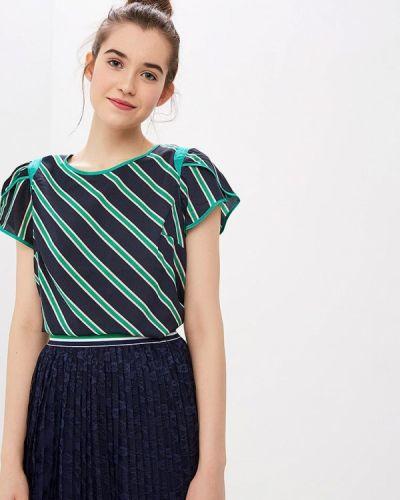 Блузка с коротким рукавом синяя весенний Naf Naf