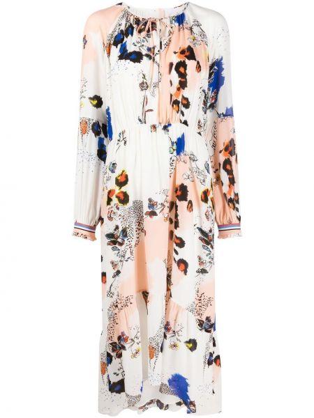 Шелковое белое платье миди в цветочный принт Lala Berlin
