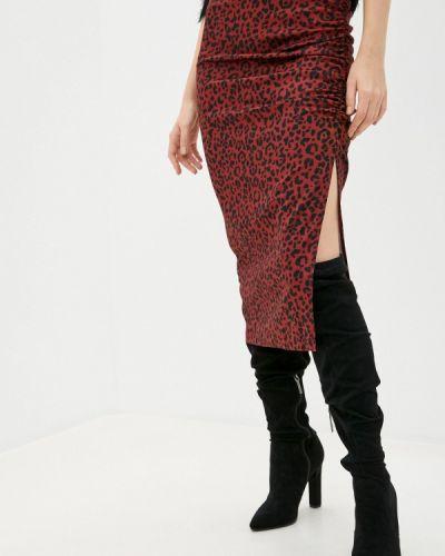 Коричневая прямая юбка карандаш Trendyol