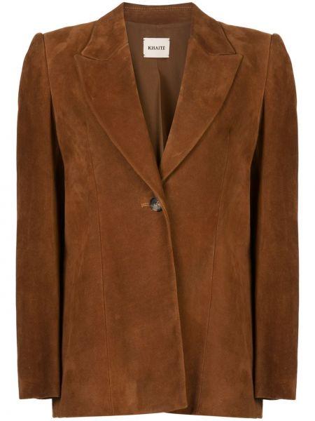 Коричневый кожаный пиджак оверсайз Khaite