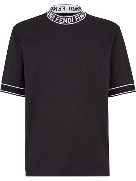 Прямая с рукавами черная футболка Fendi