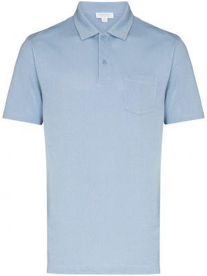 Синяя рубашка с воротником Sunspel