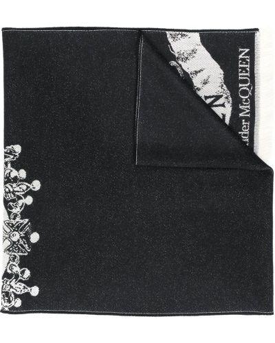 Платок черный с вышивкой Alexander Mcqueen