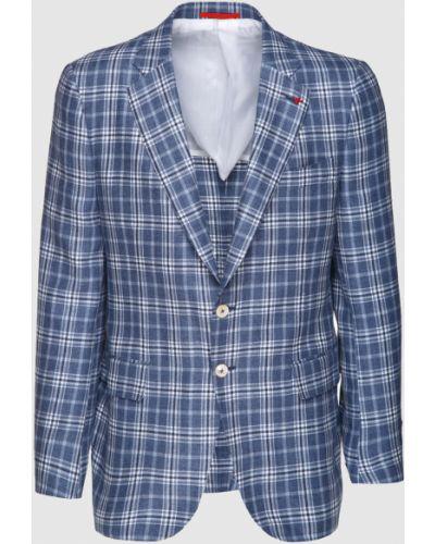 Шелковый синий пиджак Isaia