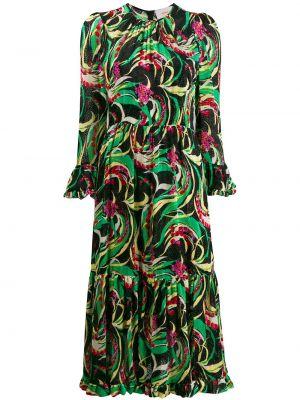 Зеленое шелковое платье миди на молнии с вырезом La Doublej