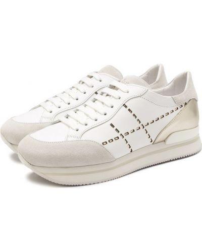 Кроссовки с перфорацией на шнуровке Hogan