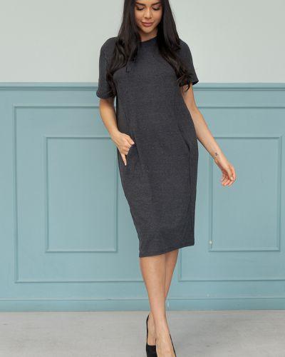 Текстильное серое платье миди с короткими рукавами для офиса твой фасон