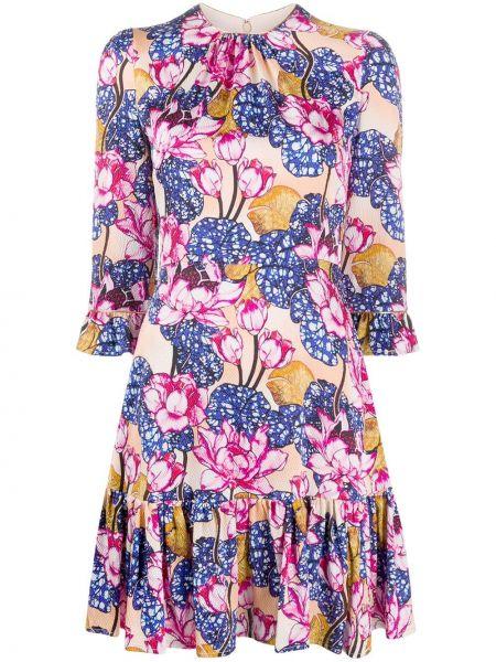 Платье мини с цветочным принтом со складками Mary Katrantzou