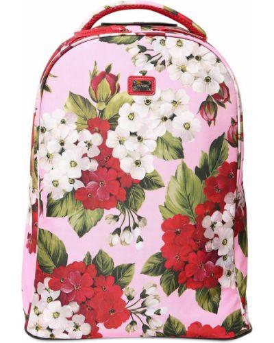 Różowy plecak z nylonu z printem Dolce And Gabbana
