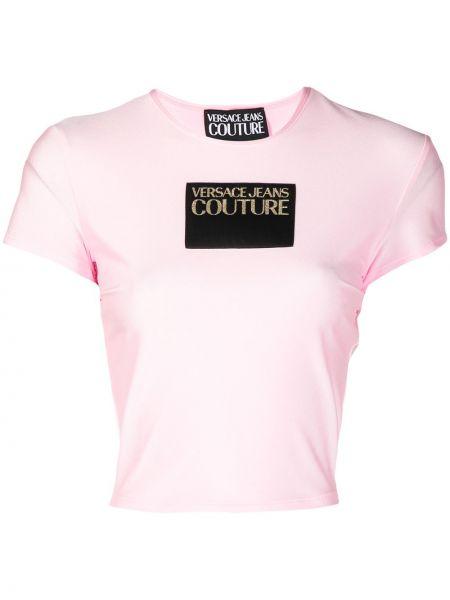 Розовая футболка с вырезом с нашивками Versace Jeans Couture