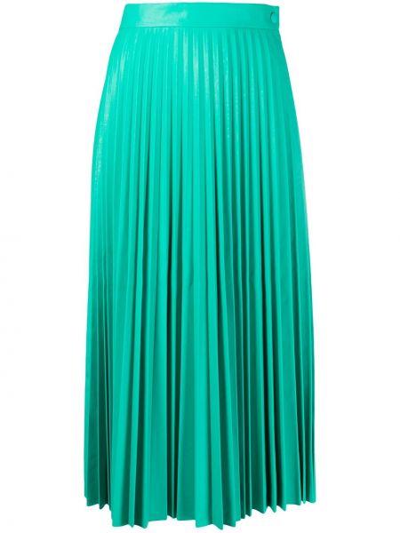 Zielona spódnica midi z wysokim stanem z wiskozy Mm6 Maison Margiela