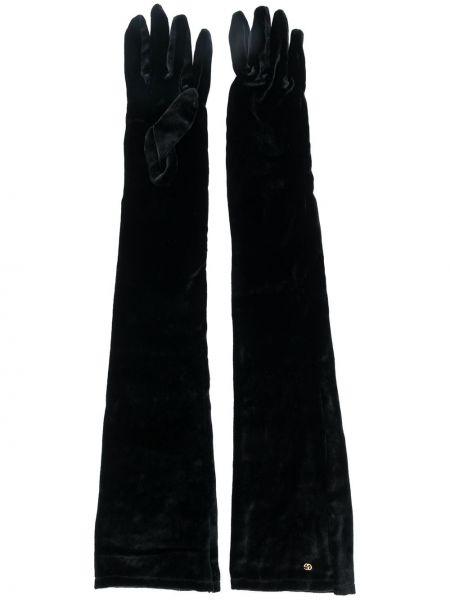 Шелковые перчатки - черные Gucci