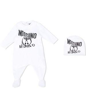 Комбинезон белый с логотипом Moschino Kids