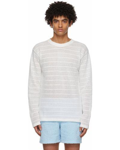 Biały t-shirt bawełniany z długimi rękawami Martin Asbjorn