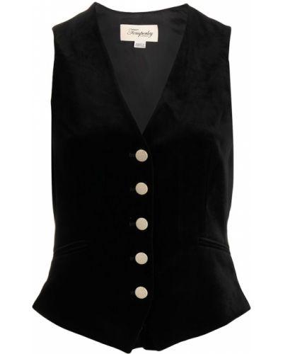 Бархатная черная жилетка с карманами с V-образным вырезом Temperley London