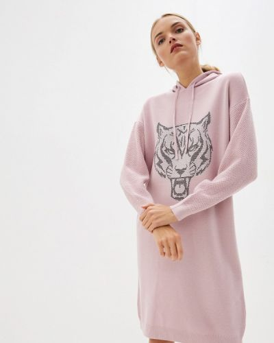 Розовое вязаное спортивное платье Plein Sport
